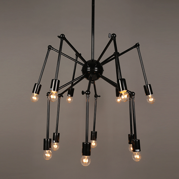 Design unique spider shape black iron vintage style chandelier