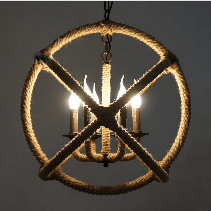 Industrial Rope Pendant Light Round Design Light Pendant