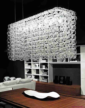 Transparent Glass Chain Structure Large Hanging Lamp for Living Room