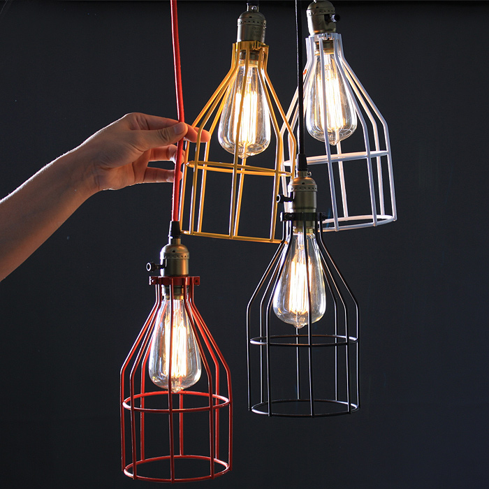 Modern Decoration Pendant Hanging Light Black White Red Colorful Iron Cage Hanging Lamp